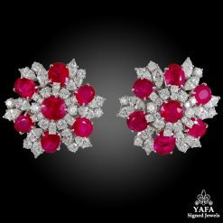 BULGARI Diamond, Burma Ruby Ear Clips