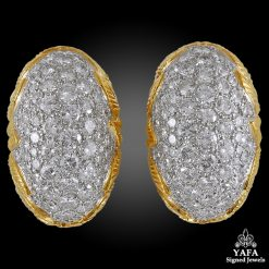 Two Tone Diamond Dome-Shaped Earrings