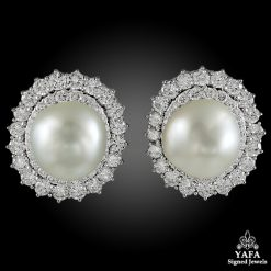 DAVID WEBB Two Tone Diamond, Baroque Pearl Earrings
