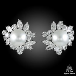 VAN CLEEF & ARPELS Pearl Diamond Cluster Earrings
