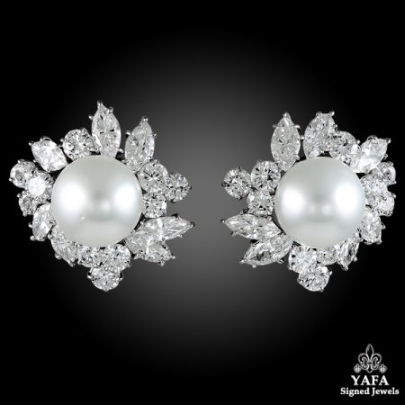 VAN CLEEF & ARPELS Diamond, Nine Pearl Earrings