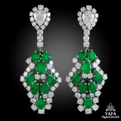HARRY WINSTON Pear-Shaped Emerald, Diamond Ear Clips