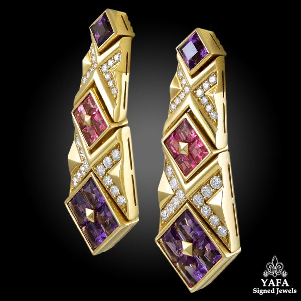 BULGARI Diamond, Pink Sapphire and Amethyst Earrings