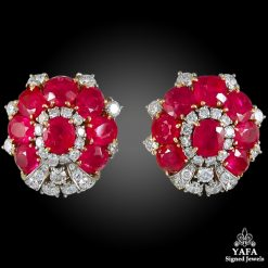 BULGARI Diamond & Oval-Shaped Ruby Ear Clips