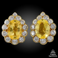 VAN CLEEF & ARPELS Diamond, Yellow Sapphire Earrings