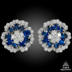 VAN CLEEF & ARPELS Diamond, Sapphire Flower Motif Ear Clips
