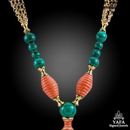 CARTIER Coral, Malachite Tassel Gold Necklace