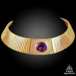 BULGARI Diamond, Amethyst Choker Gold Necklace