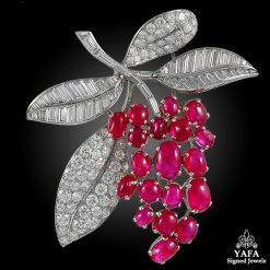 CARTIER Diamond, Cabochon Ruby Brooch