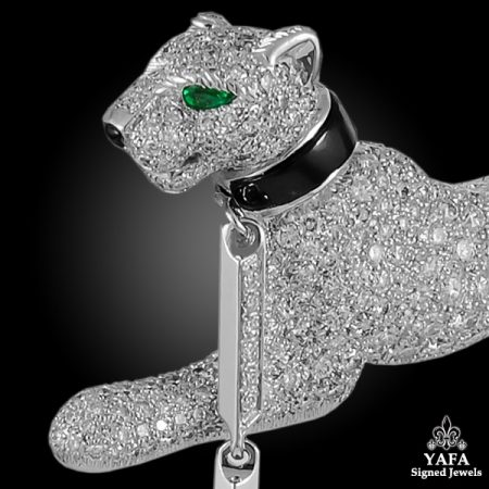 CARTIER Diamond, Emerald and Onyx PANTHÈRE Brooch