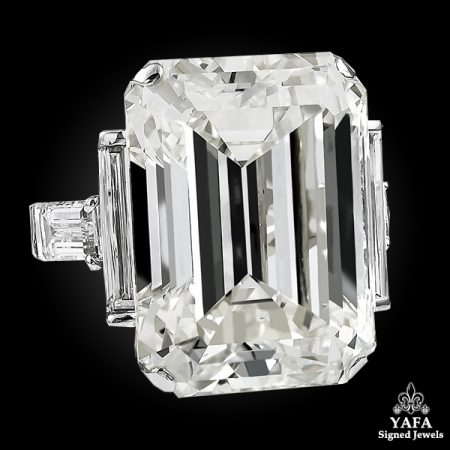 DAVID WEBB Emerald-Cut Diamond Engagement Ring – 52.55 cts.