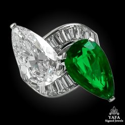 BULGARI Pear-Shaped Diamond, Colombian Emerald Twin Ring