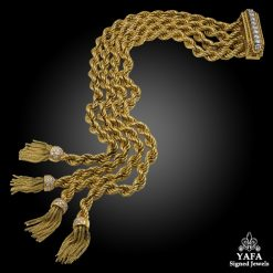 VAN CLEEF & ARPELS Diamond Tassel Rope Chain Bracelet