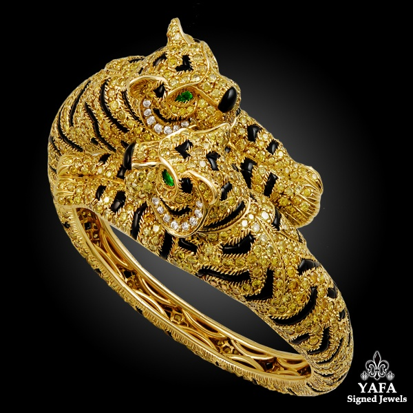 CARTIER Fancy Yellow Diamonds Two Headed Tiger Bangle