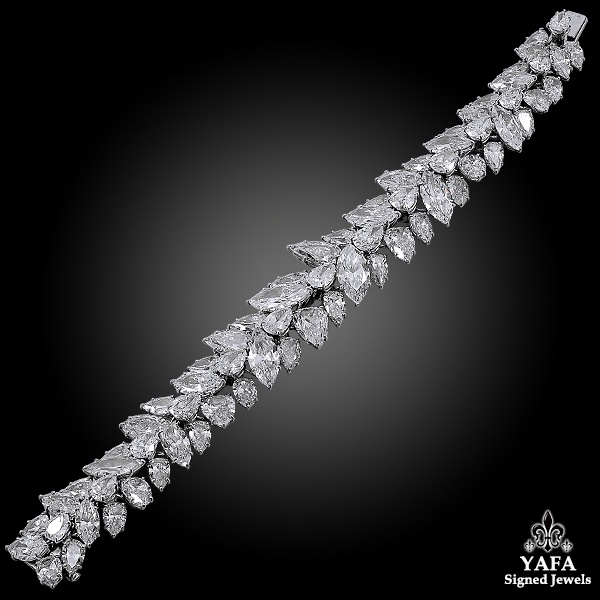 HARRY WINSTON Pear and Marquise Shaped Diamond Cluster Bracelet
