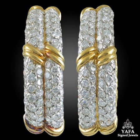 VAN CLEEF & ARPELS Diamond Nugget Hoop Earrings