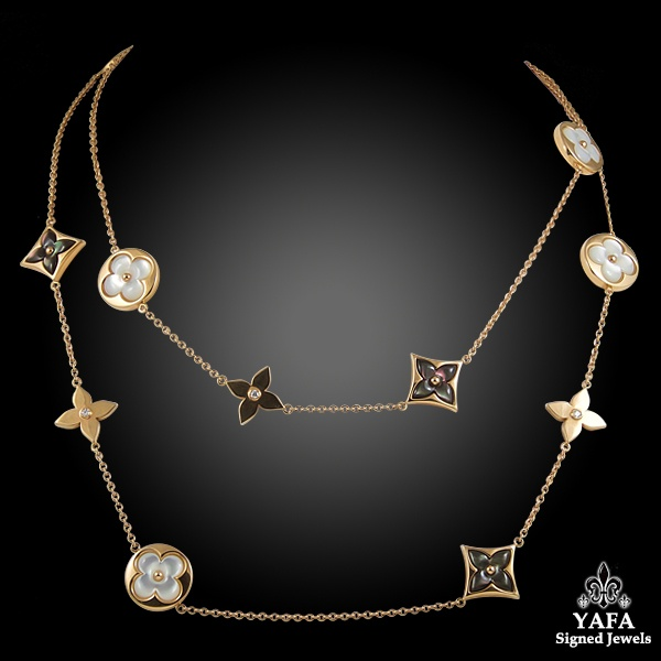 LOUIS VUITTON Diamond, Mother of Pearl Long Necklace