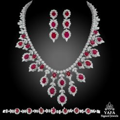 18k Gold Diamond, Burma Ruby Necklace Suite