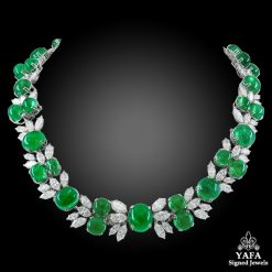 HARRY WINSTON Diamond, Cabochon Emerald Necklace
