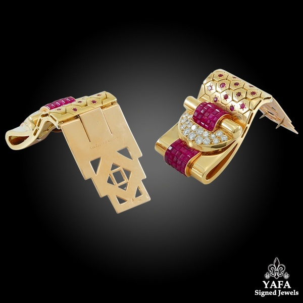VAN CLEEF & ARPELS Ludo-Hexagone Diamond, Mystery-set Ruby Brooches