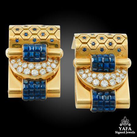 VAN CLEEF & ARPELS Ludo-Hexagone Diamond, Mystery-set Sapphire Brooches