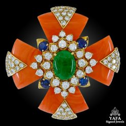 DAVID WEBB Coral, Sapphire, Cabochon Emerald. Diamond Maltese Cross Brooch.