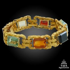Multi-Colored Semi-Precious Stone Gold Bracelet