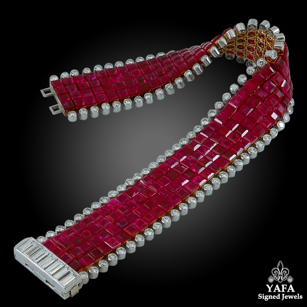 VAN CLEEF & ARPELS Diamond, Four Row Mystery-Set Ruby Bracelet