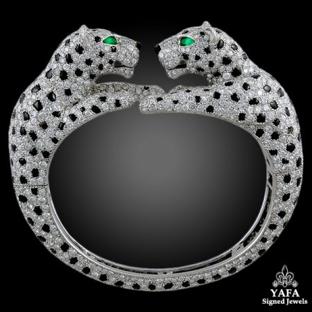 CARTIER Diamond, Onyx, Emerald Two Panther Head Bangle