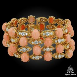 VAN CLEEF & ARPELS Diamond, Coral Four Row Gold Bracelet