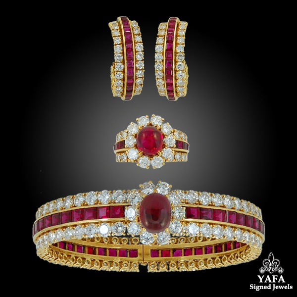 VAN CLEEF & ARPELS Diamond, Cabochon Ruby Bangle, Earrings & Ring