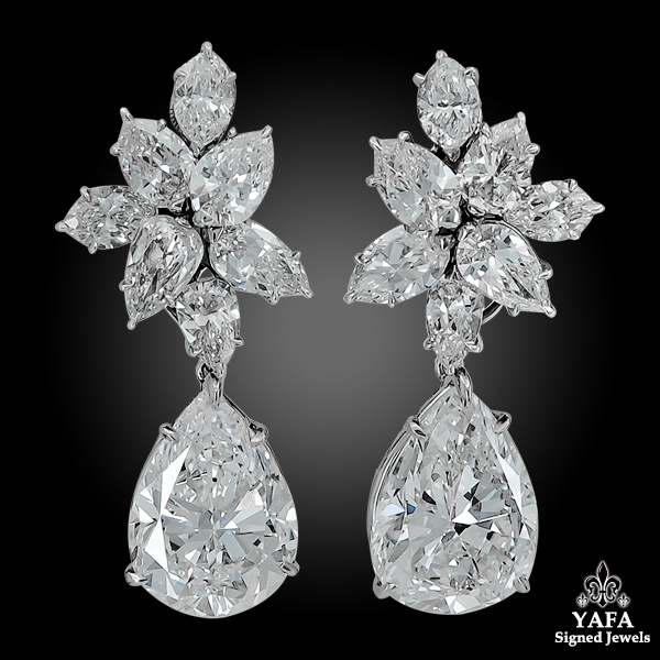 HARRY WINSTON Diamond Cluster Gold Earrings