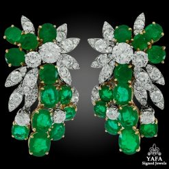 1970s VAN CLEEF & ARPELS Diamond, Emerald Earrings