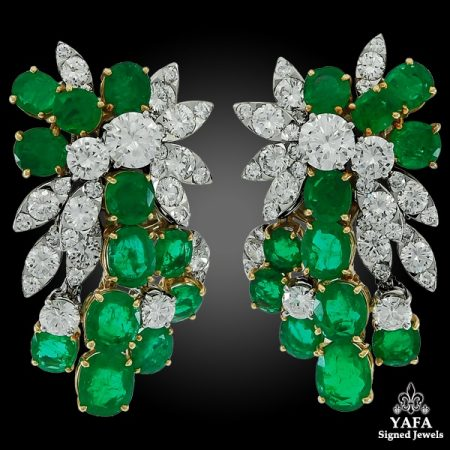 1970s VAN CLEEF & ARPELS Diamond, Emerald Ear Clips