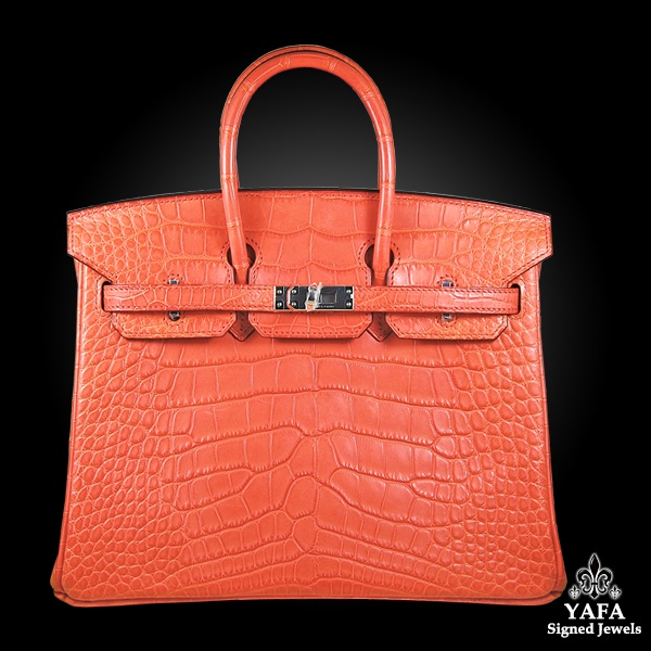 HERMES 25cm Crocodile Alligator Birkin Bag Tangerine
