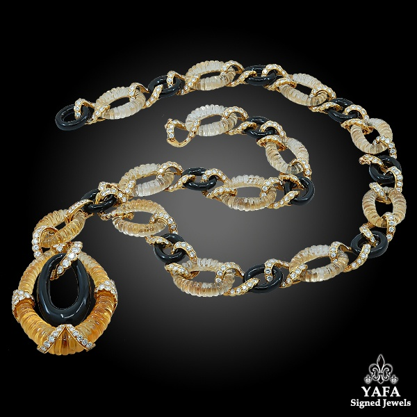 VAN CLEEF & ARPELS Diamond, Onyx, Citrine Link Necklace