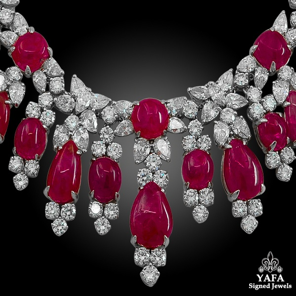 HARRY WINSTON Diamond, Burma No Heat Cabochon Ruby Necklace