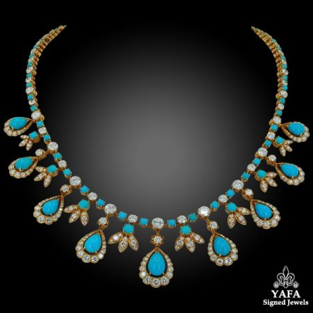VAN CLEEF & ARPELS Diamond, Pear-Shaped Turquoise Necklace