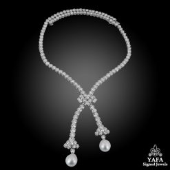 VAN CLEEF & ARPELS Diamond Pearl Sautoir Convertible Necklace