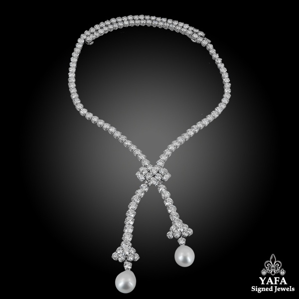 VAN CLEEF & ARPELS Diamond Pearl Convertible Necklace