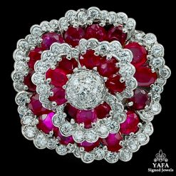 VAN CLEEF & ARPELS Diamond , Burma Ruby Flower Brooch