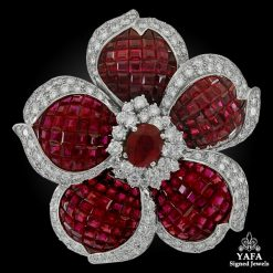 SABBADINI Diamond Ruby Invisible Set Flower Brooch