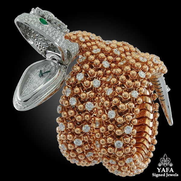 BULGARI Diamond and Emerald Eyes Serpenti Watch