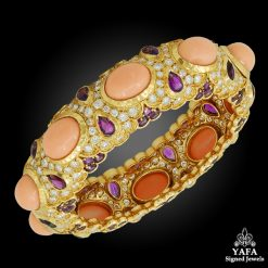 Van Cleef & ARPELS Diamond, Amethyst, Coral Bangle