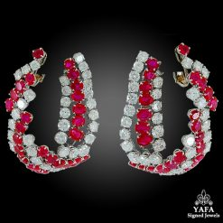 HARRY WINSTON Diamond, Ruby Ear Clips
