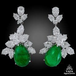 HARRY WINSTON Emerald Diamond Cluster Detachable Earrings