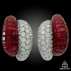 VAN CLEEF & ARPELS Diamond, Mystery-Set Ruby Earrings