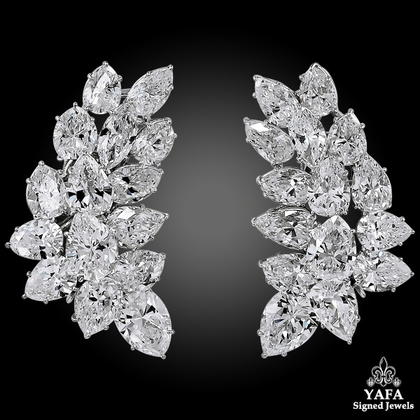 HARRY WINSTON Pear, Marquise-Shaped Diamond Cluster Ear Clips
