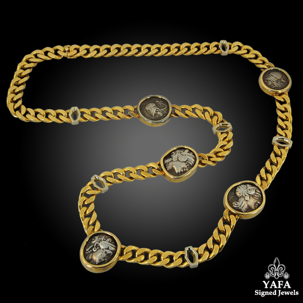 BULGARI Five Coin Link Gold Necklace