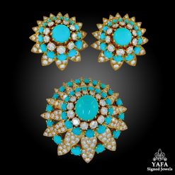 VAN CLEEF & ARPELS Diamond, Turquoise Brooch & Earrings